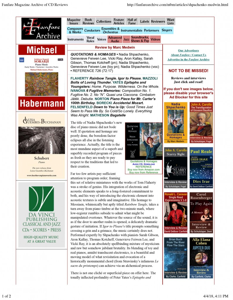 Fanfare Magazine Archive of CD Reviews