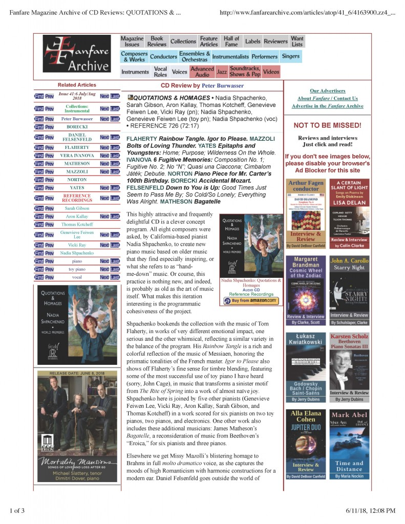 Nadia Shpachenko Fanfare Magazine Archive of CD Reviews - QUOTATIONS & HOMAGES Burwasser_Page_1